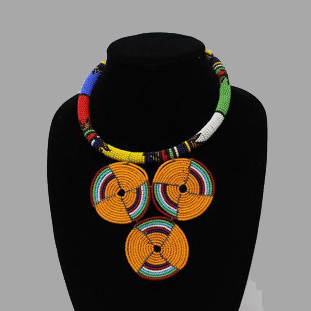 Three Circle Necklace-Orange geometric jewelry handmade african design for women and girls