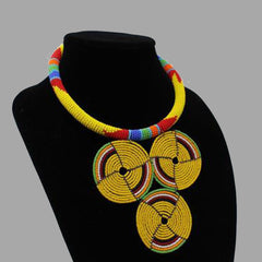 Three Circle Necklace-Yellow geometric jewelry handmade african design for women and girls
