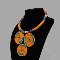 Three Circle Necklace-YO geometric jewelry handmade african design for women and girls