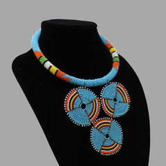 Three Cirlce Necklace-Sky blue geometric jewelry handmade african design  for women and girls