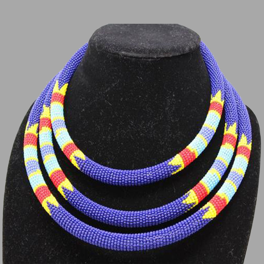 Traditional Colored Beaded Necklace-Blue geometric jewelry  handmade  african design  for women and girls in purple color