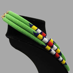 Traditional Colored Beaded Necklace-Green geometric jewelry  handmade  african design for women and girls in green color
