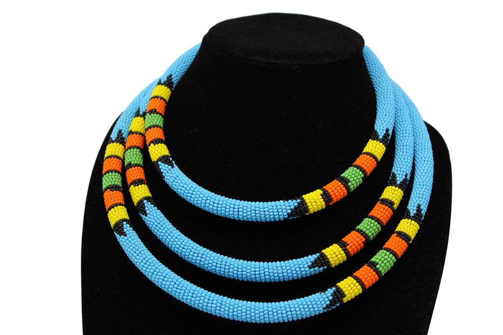 Traditional Colored Beaded Necklace-Sky blue geometric jewelry  handmade  african design for women and girls in blue color