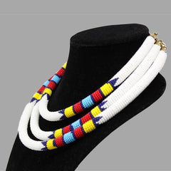 Traditional Colored Beaded Necklace-White geometric jewelry  handmade african design for women and girls in white color