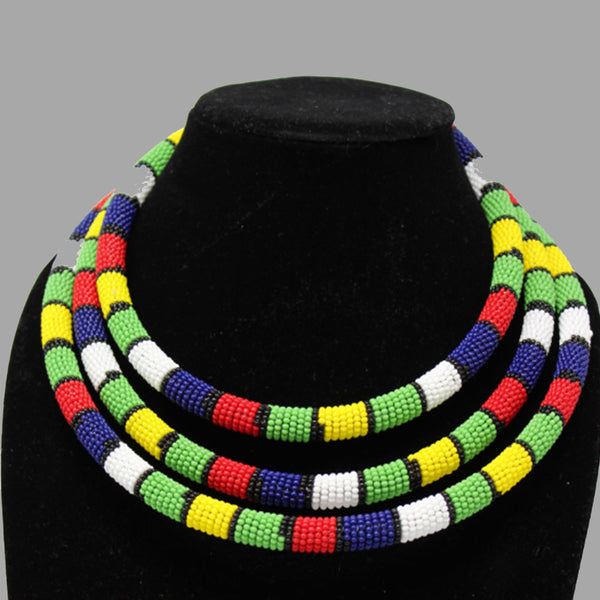 Traditional Colored Beaded Necklace geometric jewelry  handmade  african design  for women and girls in multi color