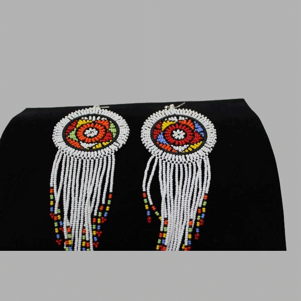 Traditional Earrings-Whitegeometric jewelry  handmade  african design  for women and girls