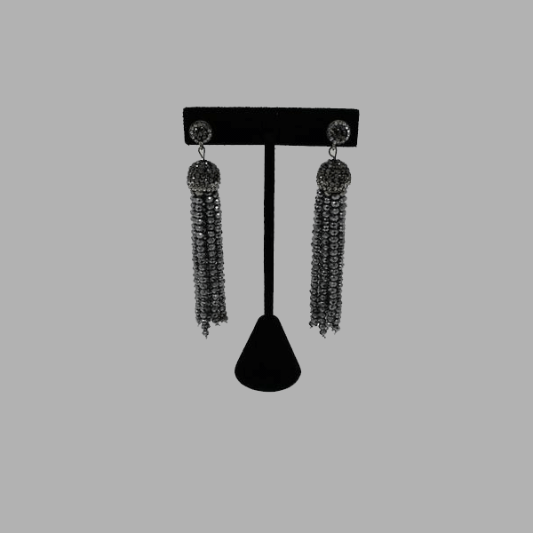 silver black drop hanging earrings handmade african design for women and girls