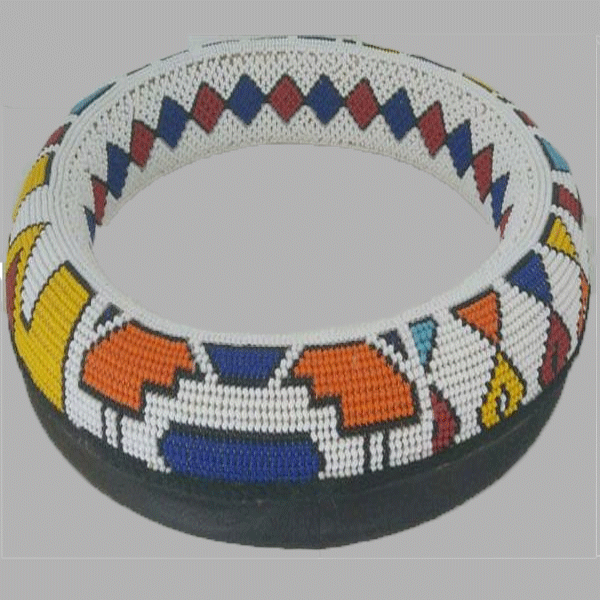 Extra Large Thando Circle Bowl Traditional  handcrafted for women and girls in orange blue yellow multicolor design south african tradition jewelry
