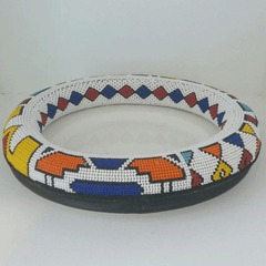 Extra Large Thando Circle Bowl Traditional handmade  geometric jewelry african design in red green and white color