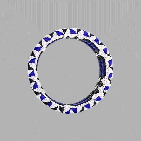 Oversize Thando Circle Mirror-Blue-Black & White handmade geometric african design for home décor