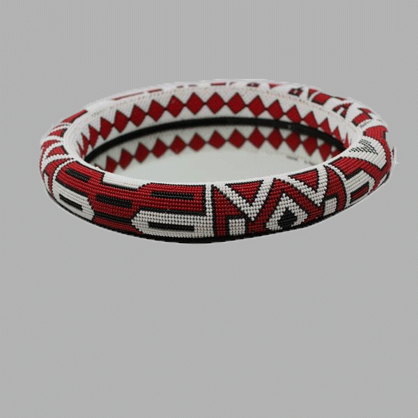 Extra Large Thando Circle Mirror-Red-Black-White  handcrafted for women and girls south african tradition jewelry
