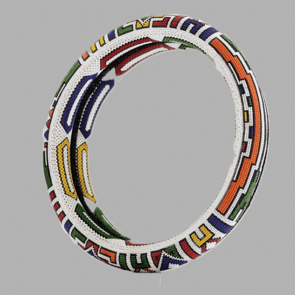Extra Large Thando Circle Mirror-Traditional  handcrafted for women and girls in green purple red yellow multicolor design south african tradition jewelry