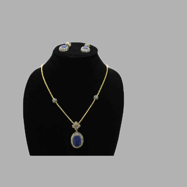 lapis gold necklace earings lapis lazuli with blue stone for women and girls  south african tradition jewelry
