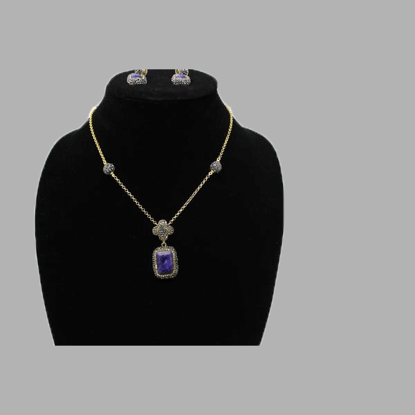 Sapphire Gold stock necklace Coral Silver earings handmade  african design  for women and girls
