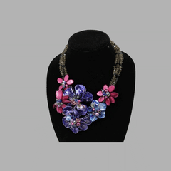 mother of pearl necklace statement jewelry set african design for women and girls in purple color
