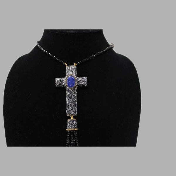 pewter quartz cross and gold earrings necklace handmade african design  for women and girls in blue