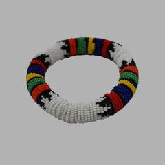 White Thick Rolled Bracelet With Multicolorsgeometric jewelry  handmade  african design  for women and girls