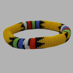 Yellow Thick Rolled Bracelet With Traditional Colors handmade  african design  for women and girls
