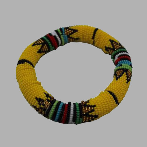 Yellow With Gold Thick Rolled Bracelet handmade  african design  for women and girls