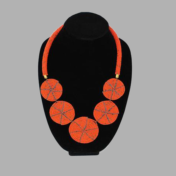 Zulu 5 Disc Elegant Necklaces In Warm & Vivid Colors handmade  african design  for women and girls