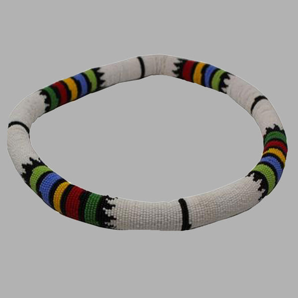 Zulu Thick Necklace-White  handmade  african design  for women and girls
