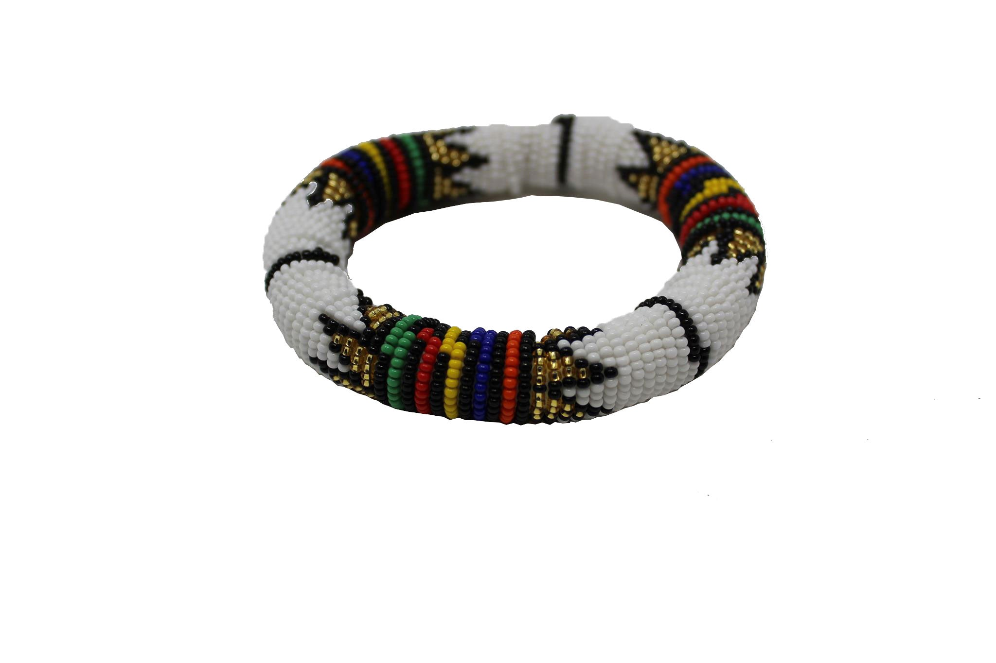 White & Gold Thick Rolled Braceletgeometric jewelry  handmade  african design  for women and girls