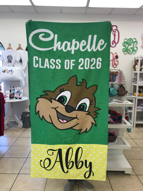 Chapelle c/o '26 custom beach towel