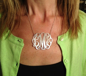 XXLarge Monogram Necklace in Sterling Silver