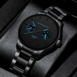 Mens Black 40mm Stainless Steel Luxury Quartz Watch