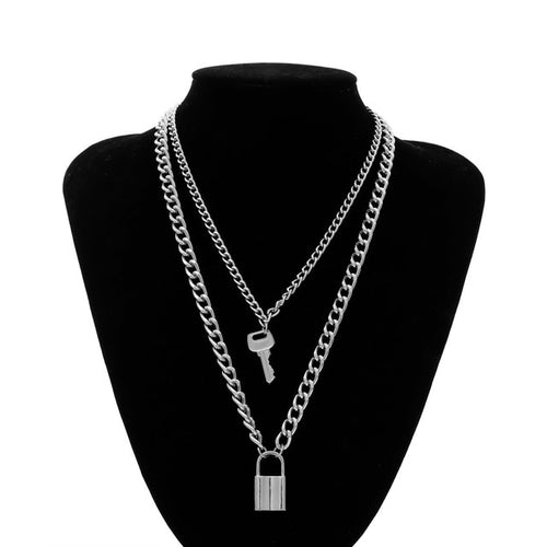 Women's Multi Layer Lock and Key Pendant Necklace