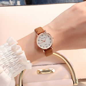 Womens Simple Vintage Heart Dial Leather Wrist Watch