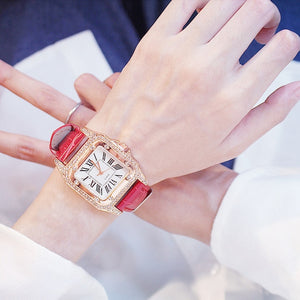 Womens Quartz Crystal Inspired Square Dial Watch & Bracelet Set