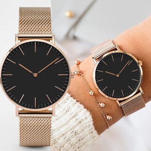 Womens Casual Mesh Stainless Steel Quartz Wrist Watch