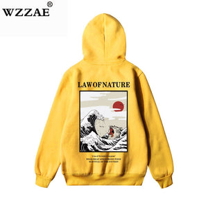 Mens Japanese Inspired Natural Disaster Tsunami Cat Wave Streetwear Hoodie