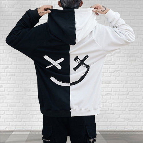 Mens Multicolor Half&Half Smiley Face Streetwear Hoodie