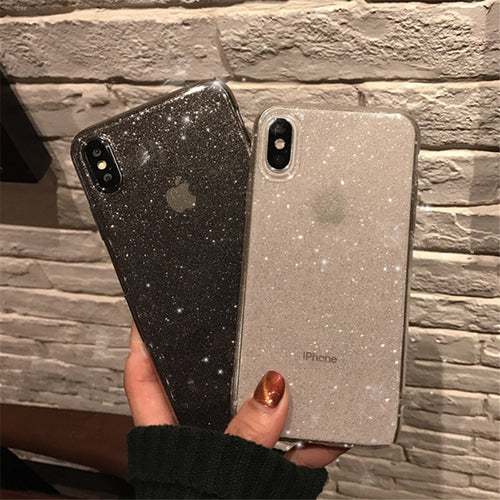 Shining Glitter Black and White Phone Case for iPhone 12, 11, 10, X, XS, Max
