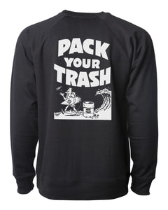 "Pack Your Trash ""Classic Surf Geek"" Crew Neck Raglan Sweatshirt"