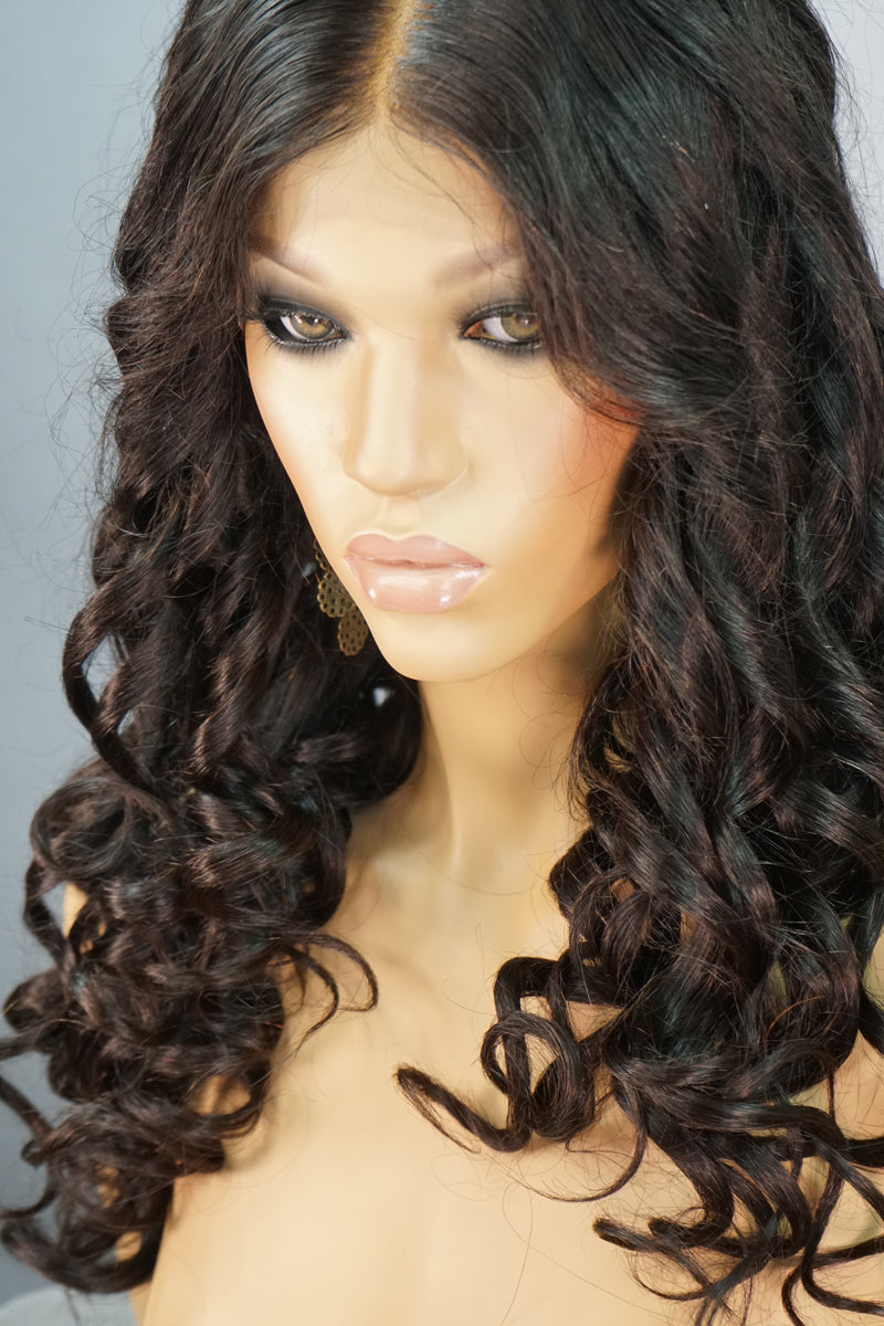 Caroline Front Lace Curly Human Hair Wig - My Elegant Tresses - Big Curly Wigs