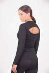 Black long shirt with back detailing.