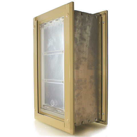 Patio Pacific Endura Wall Mount Pet Door Small Single Flap Tan
