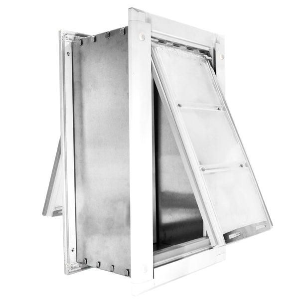 Patio Pacific Endura Wall Mount Pet Door Extra Large Double Flap White