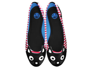 White & Red Stripe Kitty Flat