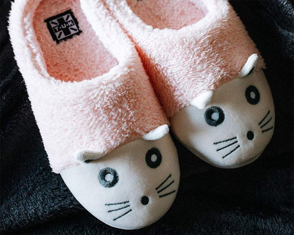 Pink & White Fuzzy Kitty Slipper