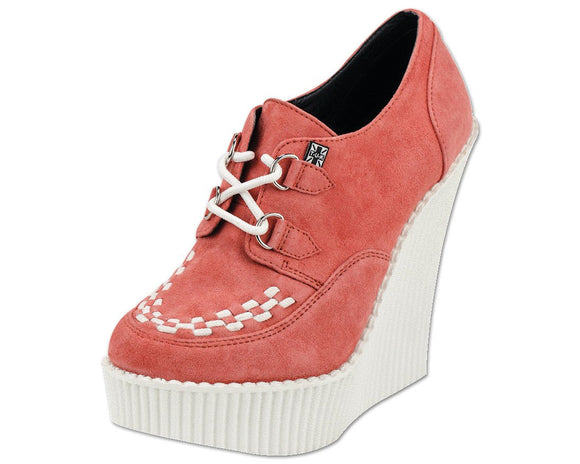 Peachy Coral Suede Creeper Wedge - T.U.K.