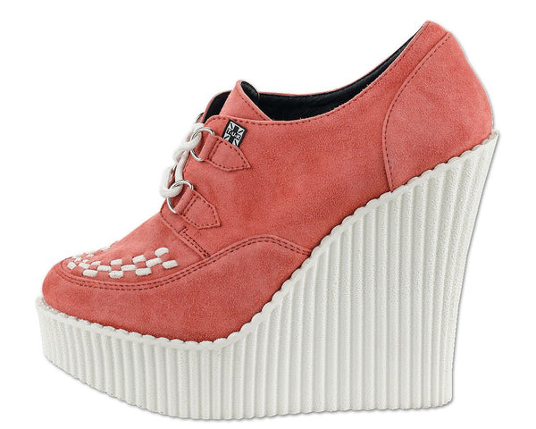 Peachy Coral Suede Creeper Wedge - *FINAL SALE/NON-RETURNABLE
