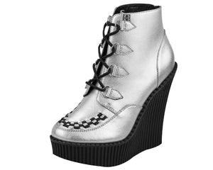 Silver Leather Creeper Wedge Bootie