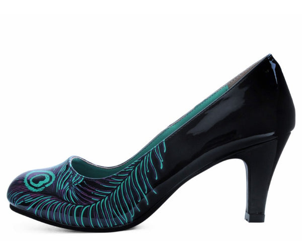 Black & Purple Peacock Feather Anti-Pop Heel
