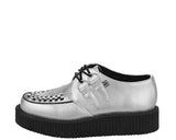 Silver Metallic Round Toe Low Creepers