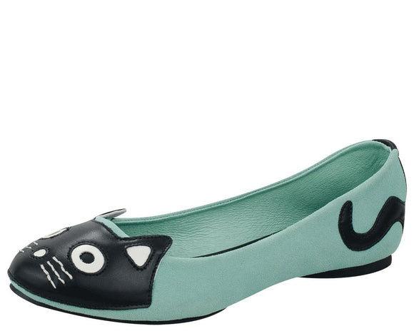 Mint Suede Kitty Flat