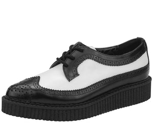 Black and White Pointed Wingtip Creepers - T.U.K.
